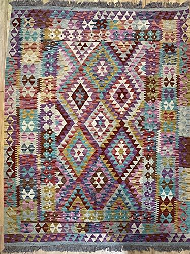 Alfombra oriental afgana, hecha a mano, de lana, colores naturales, estilo afgano, turco, nómada persa, tradicional, 160 x 196 cm, estilo vintage, pasillo y escalera reversible