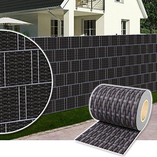 Dazone® PVC Sichtschutzstreifen Zaunfolie Blickdicht inkl. 30 x Befestigungsclips 19 cm x 70 m (Rattan-Anthrazit)
