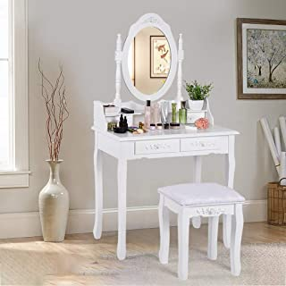 Fine Makeup Vanity Table, Vanity Set with Tri-Folding Mirror, Wood Dressing Table w/Stool&4 Drawers Storage Bedroom Furniture for Girls Women