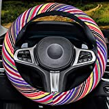 Rainbow Steering Wheel Cover for Women,with Memory Foam,Sweat Absorption, Fashion and Personality ,Rainbow-Yellow,Rainbow-Yellow
