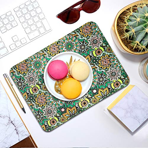 Mouse Pads 2 Pack - PU Leather & Cork Mouse pad, Floral & Black Mouse Pad Mat, Natural Cork Base, Stitched Edge, Writing Mousepad for Laptop, Computer, Office & Home Photo #7