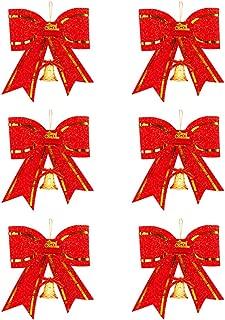 DECARETA 72 PCS Noeud de Ruban de No/ël,Arcs de No/ël Ruban avec Ceinture Dor/ée 3 Couleurs N/œuds Papillons Decoration de No/ël pour Arbres de No/ël,Emballages Cadeaux,Artisanat de F/ête Or,Argent,Rouge