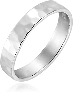 AeraVida Modern Hammered Texture 4 mm Band .925 Sterling Silver Ring