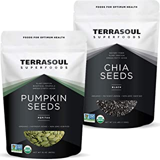 Terrasoul Superfoods Organic Pumpkin Seeds 2 Lbs + Organic Black Chia Seeds 2.5 Lbs Bundle