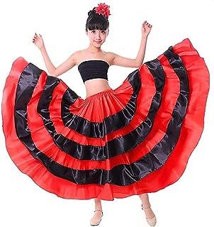 Backgarden Girl Children Gypsy Performance Tiered Skirt Belly Spanish Bull Dance Dress red/Black