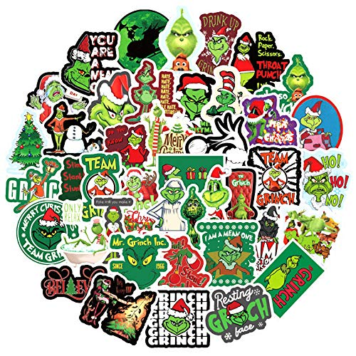 100pcs How The Grinch Stole Christmas Movie Stickers for Furniture Wall Desk DIY Chair Toy Car Trunk Computer Decal Guitar