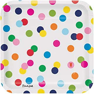 French Bull Dots-9-Inch Square Plate, 10-Count, Paper, Birthday Dots, Dinner