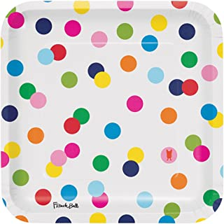 Creative Converting 322129 Party Supplies French Bull Dots-9-Inch Square Dinner Plate, 10-Count, Dinner, Birthday Dots