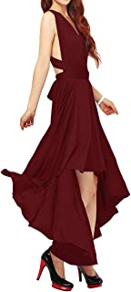 IWEMEK Women's Multi-Wear Cross Halter Evening Dress Bridesmaid Long/Hi-Lo Dress Multiway Dress Backless Maxi Dress Summer Dress Beach Cocktail Party Dress 6-18