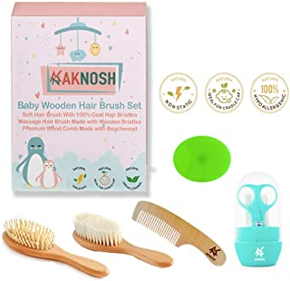 Baby Wooden Hair Brush Comb Set | Ultra Soft Natural Goat Hair Brush for Cradle Cap | Wooden Bristles Brush for Massage | ...