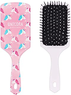 Unicorn Hair Brush, Large Paddle Hair Detangler Brush Anti Static Ball-tipped Nylon Bristle Air Cushion Massage Brush No Knot for Girls Women Curly Long Thick Dry Wet Frizzy Damaged Hair Volume