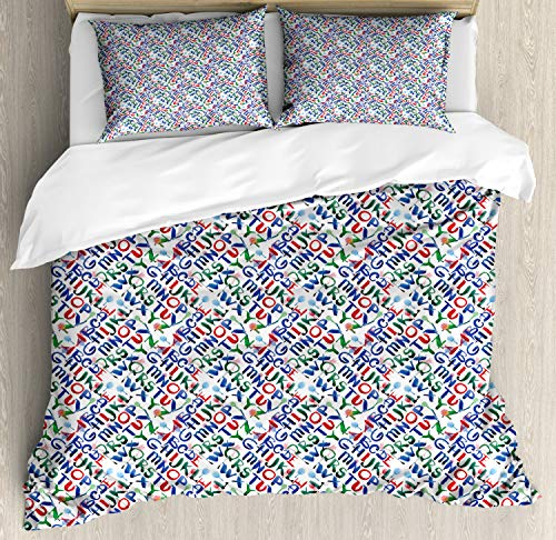 ABAKUHAUS Alphabet Duvet Cover Set, Inky Paintbrush Lettering on a Grey Background, Bedding Set 3 Pieces with 2 Pillow Shams, Double UK Size, Multicolor