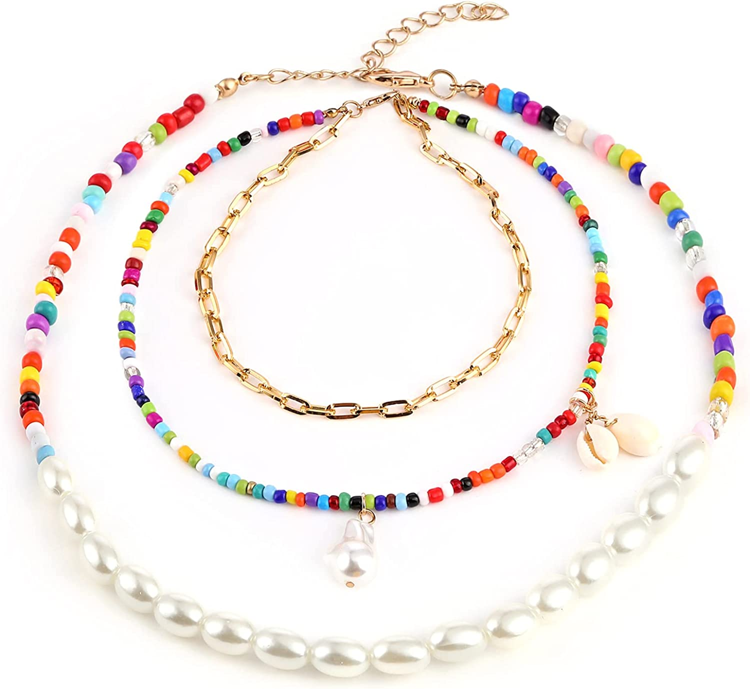 Layered Rainbow Beaded Choker Necklaces Pearl Shell Puka Handmade Paperclip Chain Necklace for Woman Girls Bohemian Boho Jewelry Colorful Beads Irregular Pearls Pendant Chokers