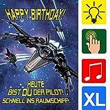 bentino Geburtstagskarte XL mit Musik, Licht und BERÜHR-Funktion, per Knopfdruck'LASERKANONEN' abfeuern, DIN A4 Set mit Umschlag, Glückwunschkarte aus der Serie'Great Cards'