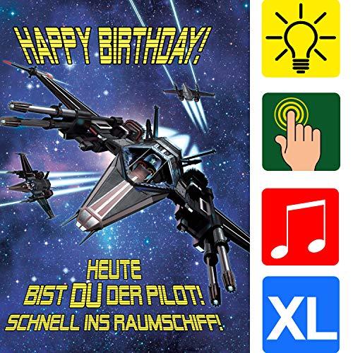 bentino Geburtstagskarte XL mit Musik, Licht und BERÜHR-Funktion, per Knopfdruck