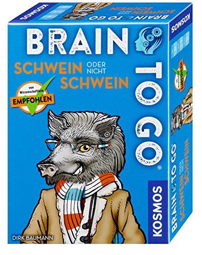 Kosmos 690823 Brain to go - Schwein oder nicht Schwein, Spielend das Gehirn trainieren mit Denksport für zwischendurch. Merkspiel, Gesellschaftsspiel für 1 - 5 Spieler ab 8 - 99 Jahre einfache Regeln