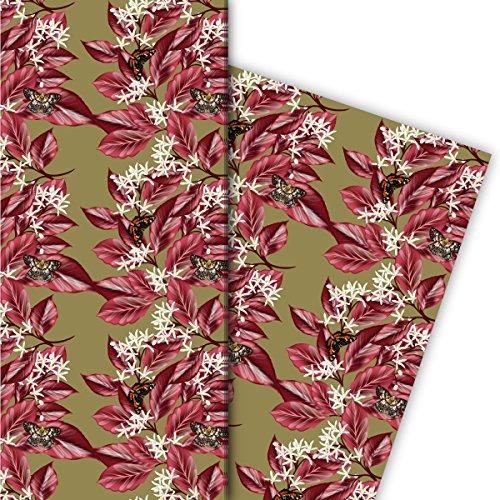 Kartenkaufrausch Super elegante geschenkpapieren set 4 vellen, decoratief papier met plantenstrepen en vlinders, beige, voor mooie geschenkverpakking, patroonpapier om te knutselen 32 x 48 cm