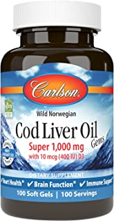 Carlson - Cod Liver Oil, Super 1000 mg + Vitamins A & D3, Wild Norwegian, Sustainably Sourced, 100 Softgels