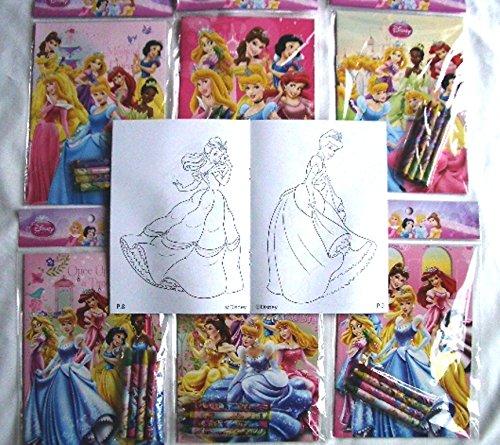 Coloring Book 12 Sets of Disney Princesses and Crayon Set Children Party Favors Bag Filler