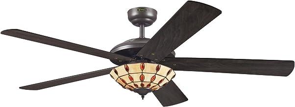 Westinghouse- 72485 Ventilateur de plafond d'intérieur à finition expresso de 132 cm Comet Tiffany, kit d'éclairage avec v...
