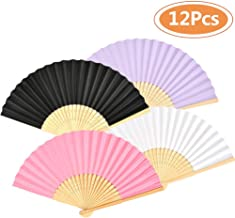 OFNMY Hand Fans,12pcs Wedding Paper Fans Bamboo Folding Hand Held Fan for Church Wedding Gift, Party Favors, DIY Decoration