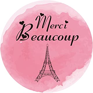 MAGJUCHE Paris Thank You Stickers, Merci Beaucoup Pink Girl Baby Shower or Birthday Party Favor Sticker Labels, Eiffel Tower, 2 Inch Round, 40-Pack