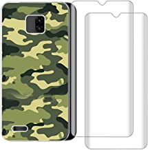 Compatible for Ulefone Note 7 Case with 2 Pack Glass Screen Protector Phone Case for Men Women Girls Clear Soft TPU with Protective Bumper Cover Case for Ulefone Note 7, Camouflage