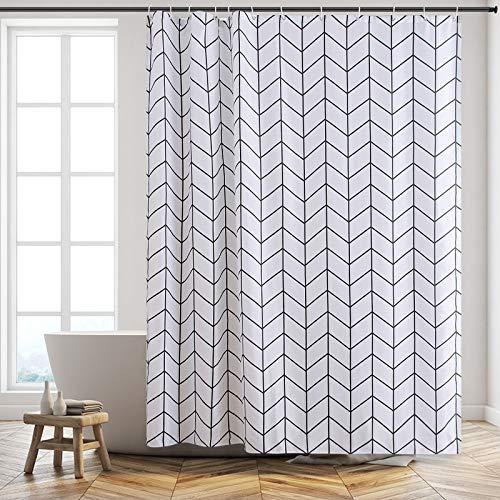 Furlinic Duschvorhang für Badewanne & Dusche in Badezimmer, Textiler Badvorhang Anti-schimmel aus Stoff Waschbar Wasserdicht, mit 12 Ringe 180x210, Fischgrätenmuster.