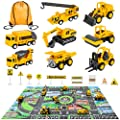 Meland Construction Vehicles Truck Toys Set with Play Mat - 8 Mini Engineer Pull Back Cars, 22.7x32.7Inch Playmat & 12 Road Signs, Toy Car Set for Boys Toddlers Birthday Christmas 3+ Year Old from Meland