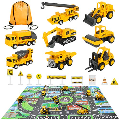 Meland Construction Vehicles Truck Toys Set with Play Mat - 8 Mini Engineer Pull Back Cars, 22.7x32.7Inch Playmat & 12 Road Signs, Toy Car Set for Boys Toddlers Birthday Christmas 3+ Year Old