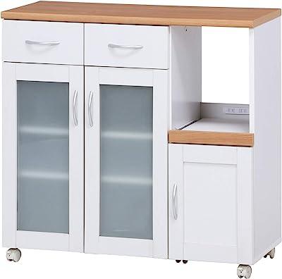 不二貿易 キッチン収納 キッチンカウンター 幅90cm ホワイト スライド棚 コンセント付き サージュ 99522