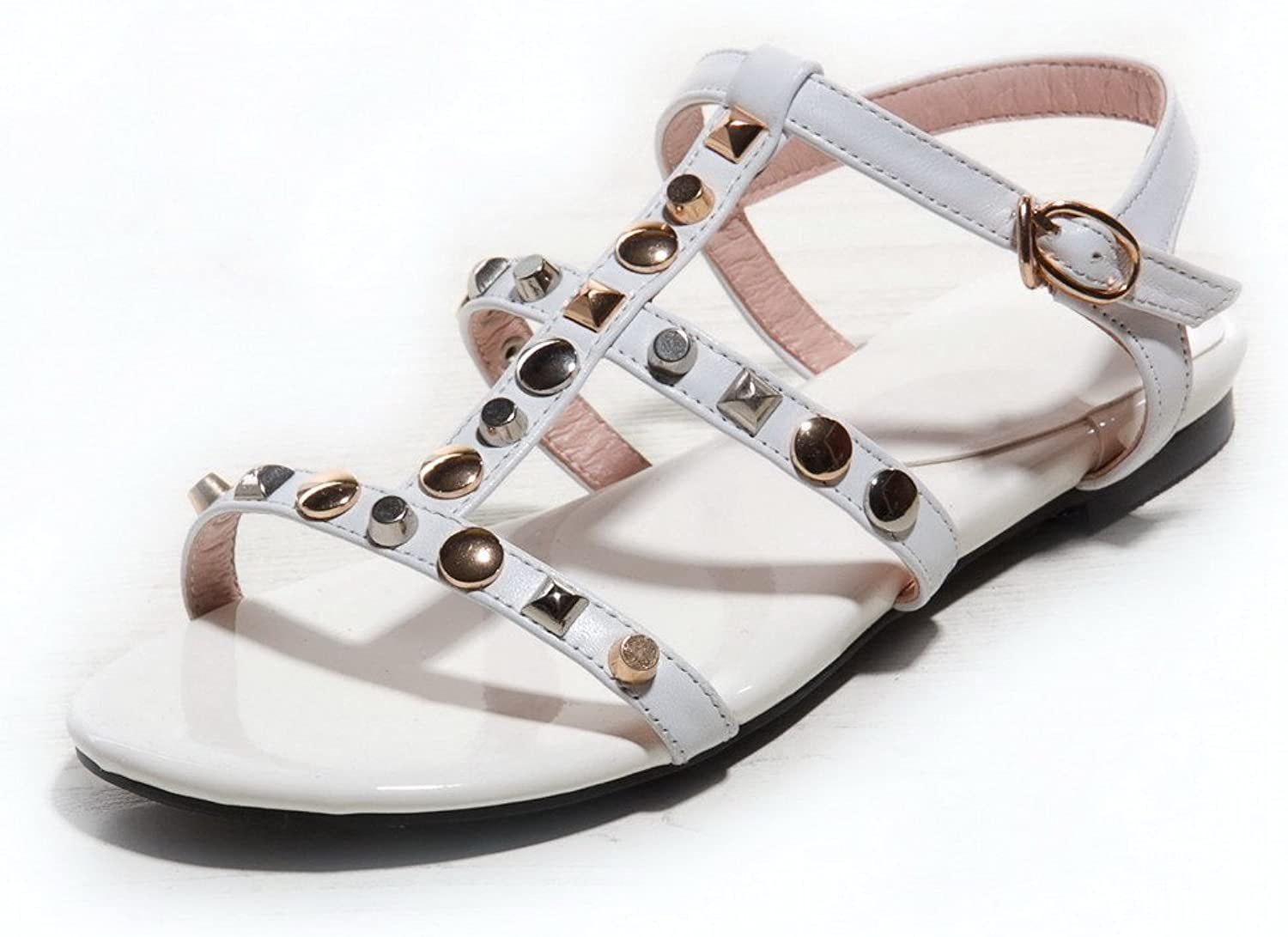 AmoonyFashion Women's Buckle Open Toe No Heel Cow Leather Solid Sandals