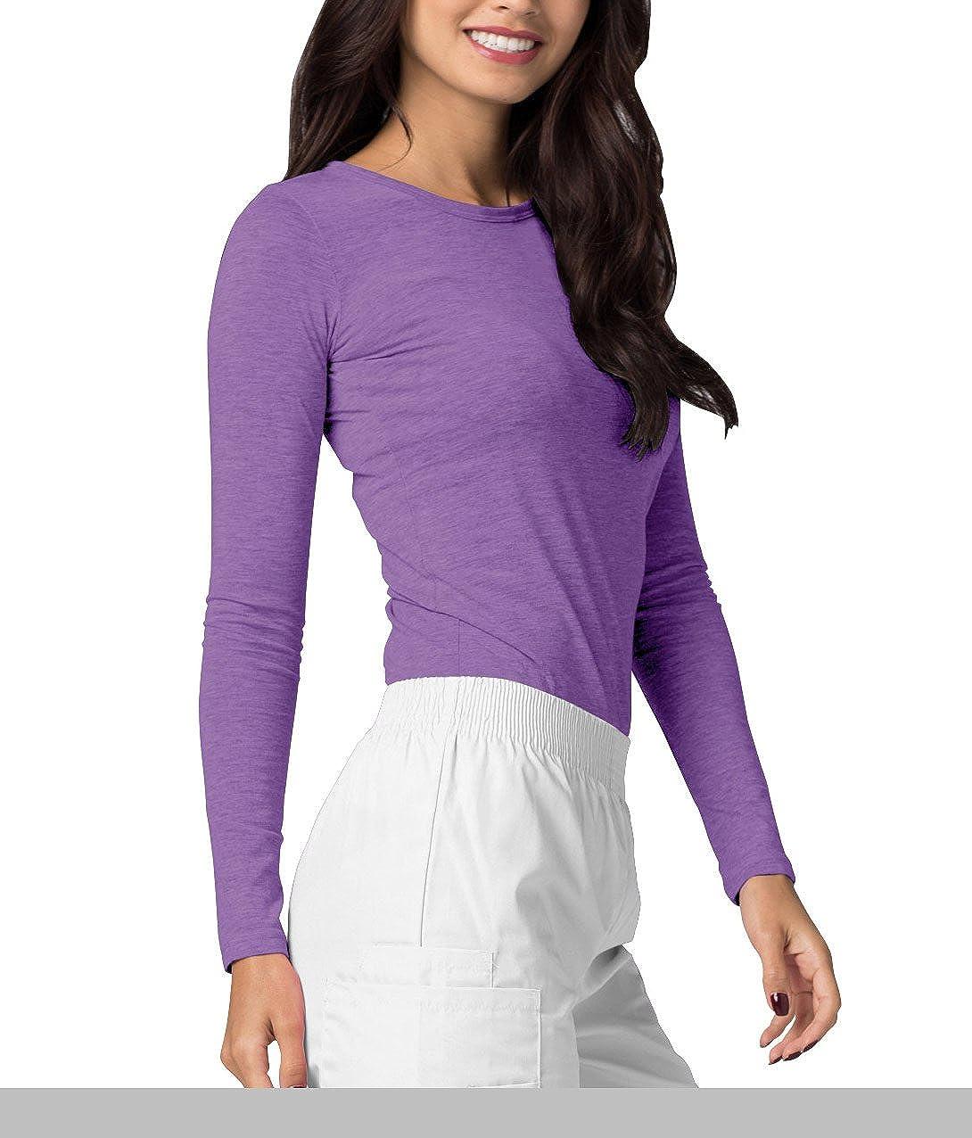 Adar Underscrubs for Women - Long Sleeve Underscrub Comfort Tee Heather Purple