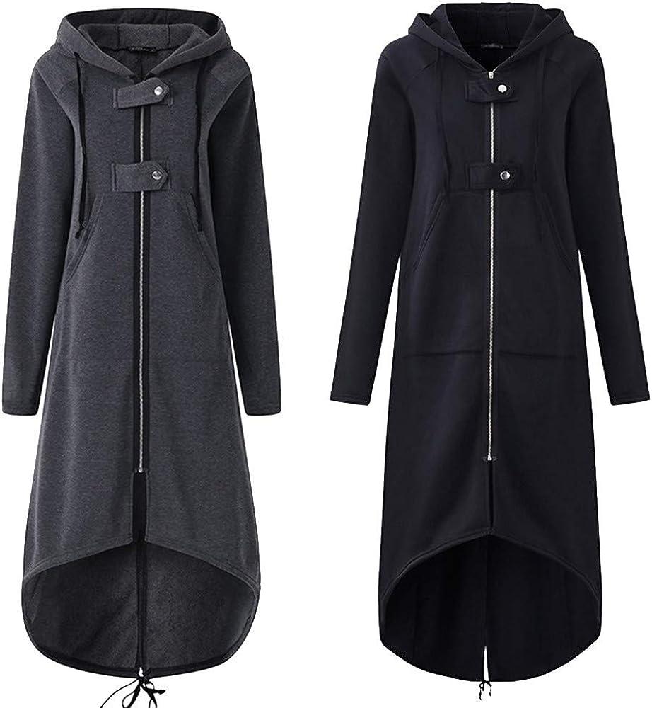 iHENGH Damen Herbst Winter Bequem Mantel Lässig Mode Jacke Frauenmode Kapuzenjacke Lange Ärmel Langer, Fester Mantel mit Tasche Schwarz