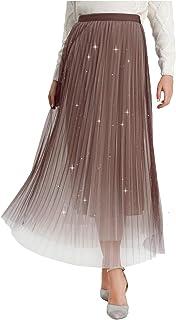 F.DTCC Women's High Waist Swing Skirt Bling 3 Layer Mesh Tulle Midi Long Pleated Skirt