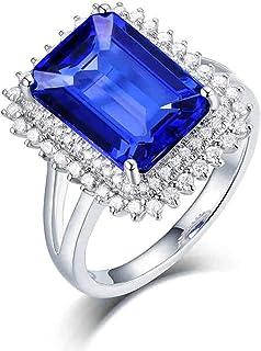 ButiRest - Anello di lusso in oro bianco 18 carati 750 con 4 denti taglio rettangolare 4 ct blu tanzanite IF e diamante 0,...