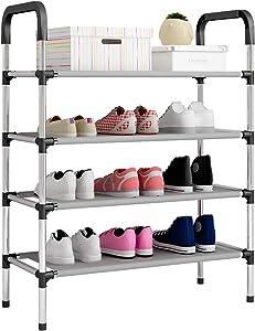 UDEAR Range Chaussures 4 Étages Organisateur de Rangement de Chaussures Noir 60 * 30 * 85 CM