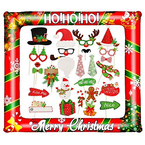 PTFNY Christmas Inflatable Photo Booth Props Frame Inflatable Merry Christmas Party Photo Booth Frame with 28 Pieces Christmas Photo Booth Props for Xmas Party Supplies Decorations