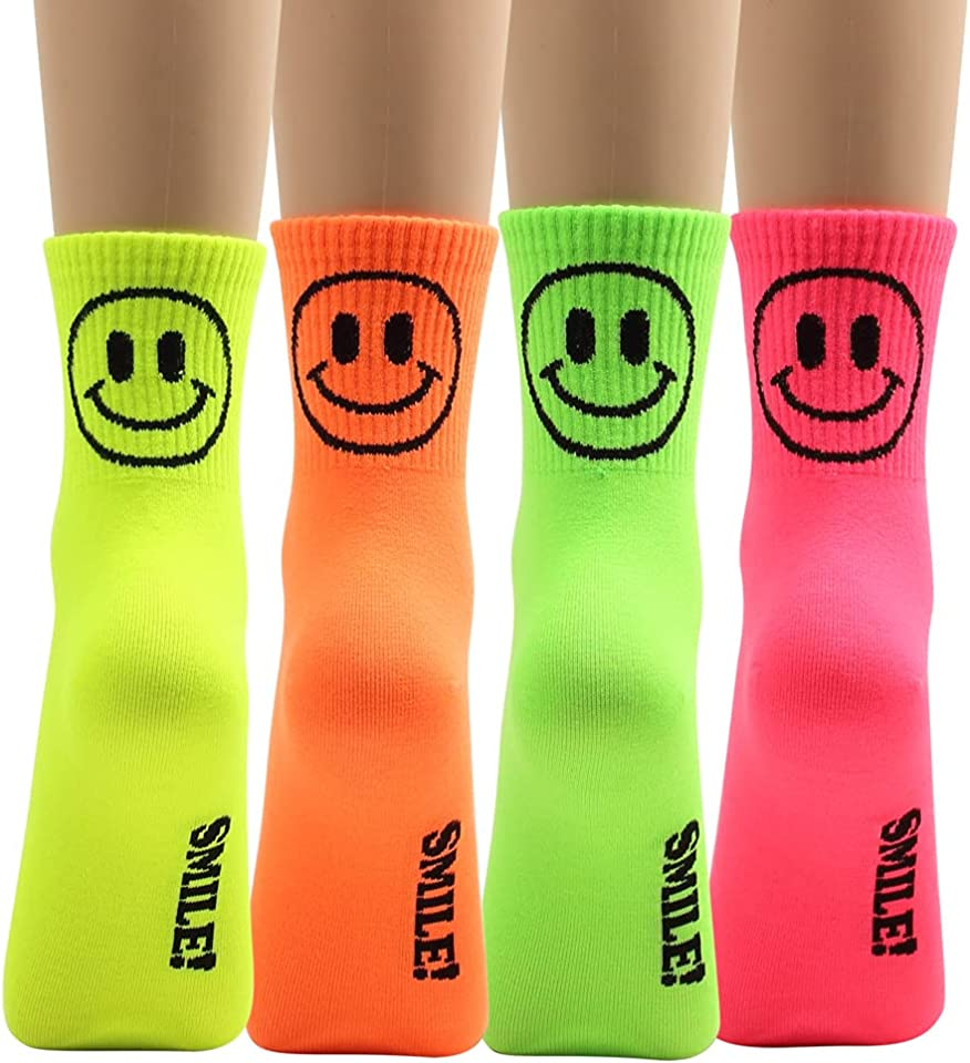 Women Crew Ankle Neon Socks Vivid 5 Color For Teen 5 pairs
