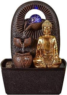 Zen Light - Fontaine d'Intérieur Bouddha Bhava - Déco Zen et Feng Shui - Cadeau Original - Eclairage LED Multocolore - Eco...