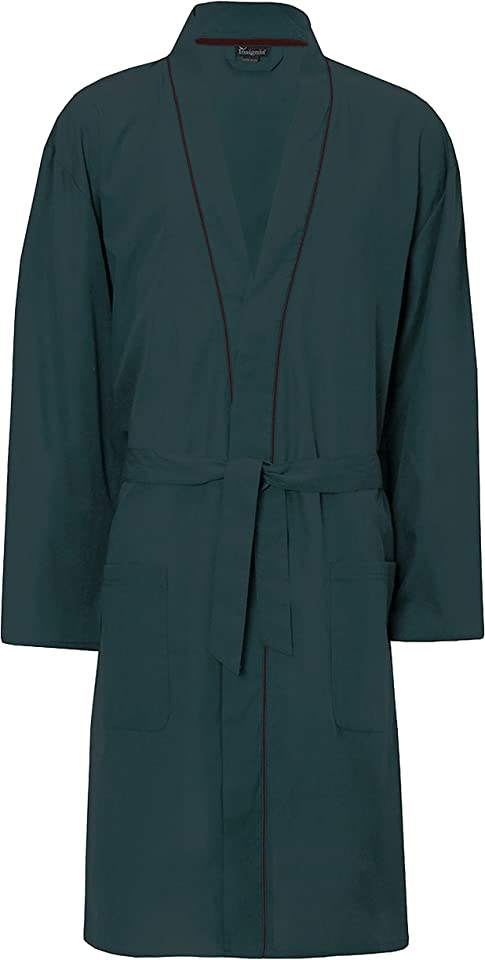 Mens Plain Woven Lightweight Cotton Poly Dressing Gown Robe