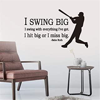 Peel and Stick Removable Wall Stickers I Swing Big I Swing with Everything I've Got I Hit Big Or I Miss Big Babe Ruth for Living Room Bedroom