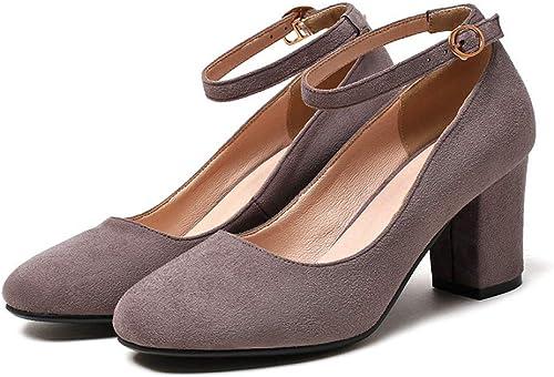 VIVIOO Plus la Taille Taille Taille 33-44 Femmes Pompes Bout Rond Printemps été Chaussures Bride à la Cheville Douce Mode Chaussures à Talons Hauts Femme 4f5