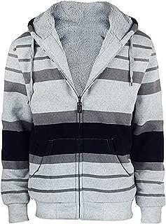 Men's Hoodies Flannel Full Zip Sherpa Lined Heavy Fleece Plaid Warm Hooded Jackets,S-5XL