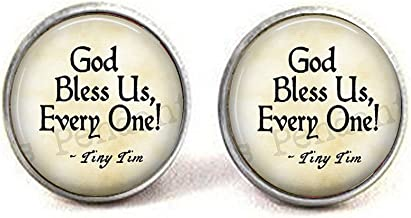 lukuhan God Bless Us Every One - Tiny Tim Quote - A Christmas Carol Jewelry - Tiny Tim Pendant - Christmas Carol Quote - Scrooge - Bah Humbug Cufflinks