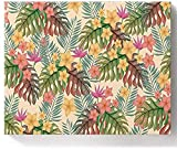 Pintura acrílica de 40,6 x 50,6 cm por números, pintura acrílica para decoración de pared, colorido tropical platycodon floral hojas de palma acuarela