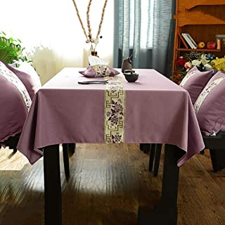 XM&LZ Chinese Style Cotton Linen Tablecloth, Decoration Embroidered Table Cover Back Velvet Anti-Slip Table Protector Dining Table Cover-Purple 135x180cm(53x71inch)