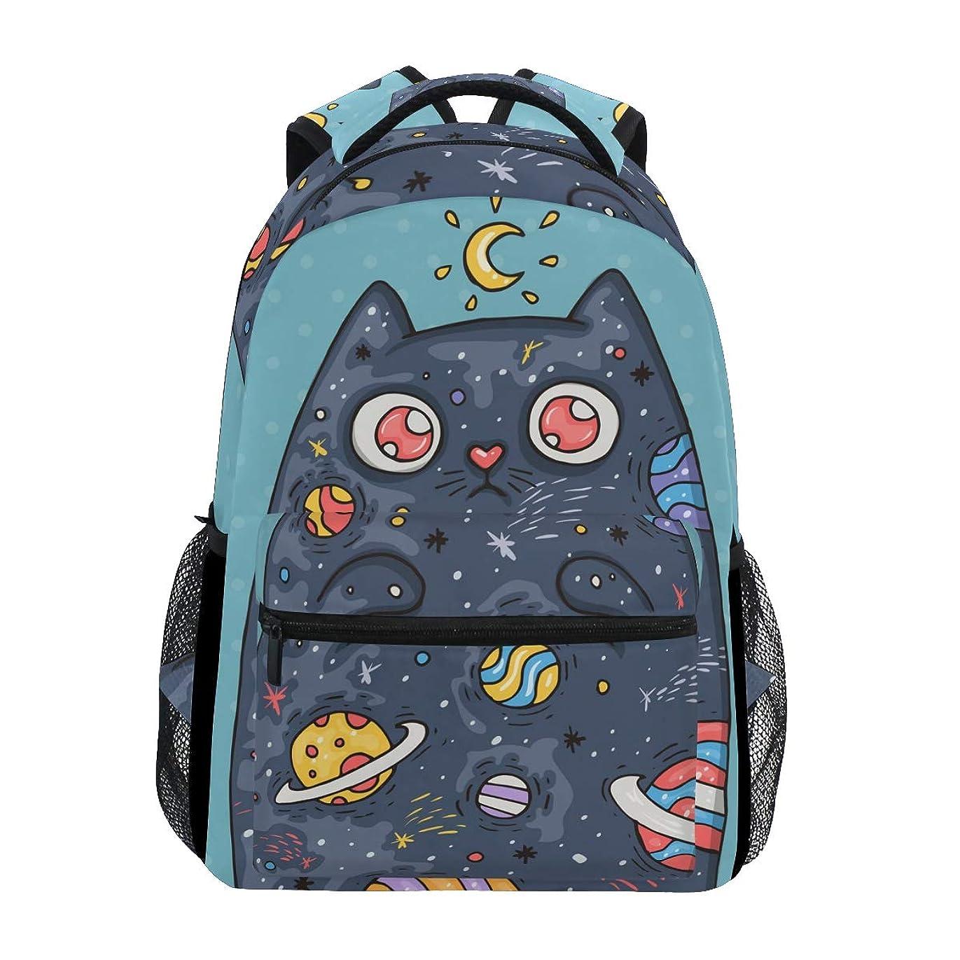 上回る郊外意識的マキク(MAKIKU) リュック レディース 大容量 軽量 星空 猫柄 月柄 惑星 リュックサック メンズ 高校生 A4 中学生 小学生 通学
