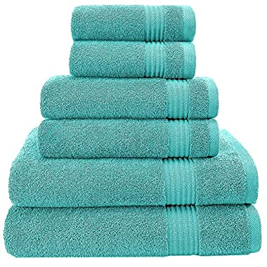 Hotel & Spa Quality, Absorbent and Soft Decorative Kitchen and Bathroom Sets, 100% Genuine Cotton, 6 Piece Turkish Towel Set, Includes 2 Bath Towels, 2 Hand Towels, 2 Washcloths, Ocean Aqua