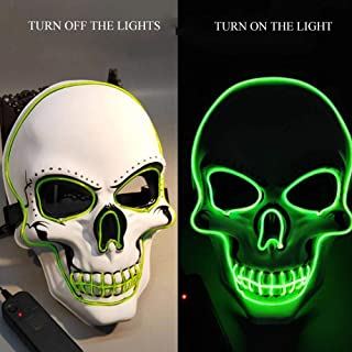 WeyTy LED Halloween Scary Mask Light Up Scary Death Skull Mask Cosplay Led Costume Mask for Halloween Festival Party